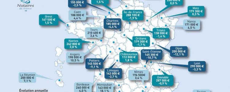La carte des prix moyens des maisons en France selon les notaires